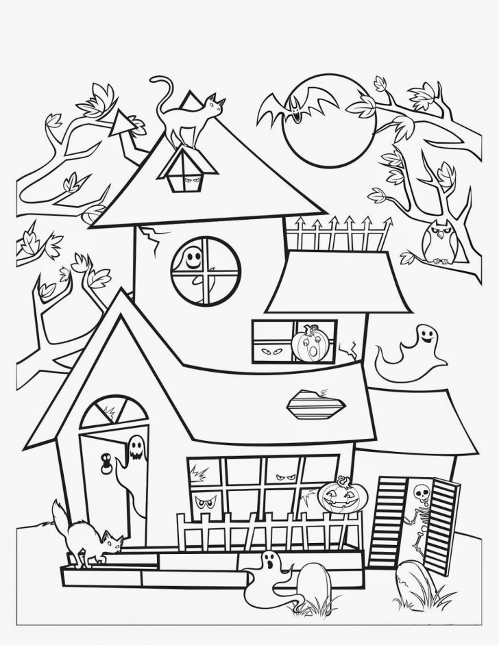Haunted House Coloring Pages Halloween Haunted House Coloring Pages