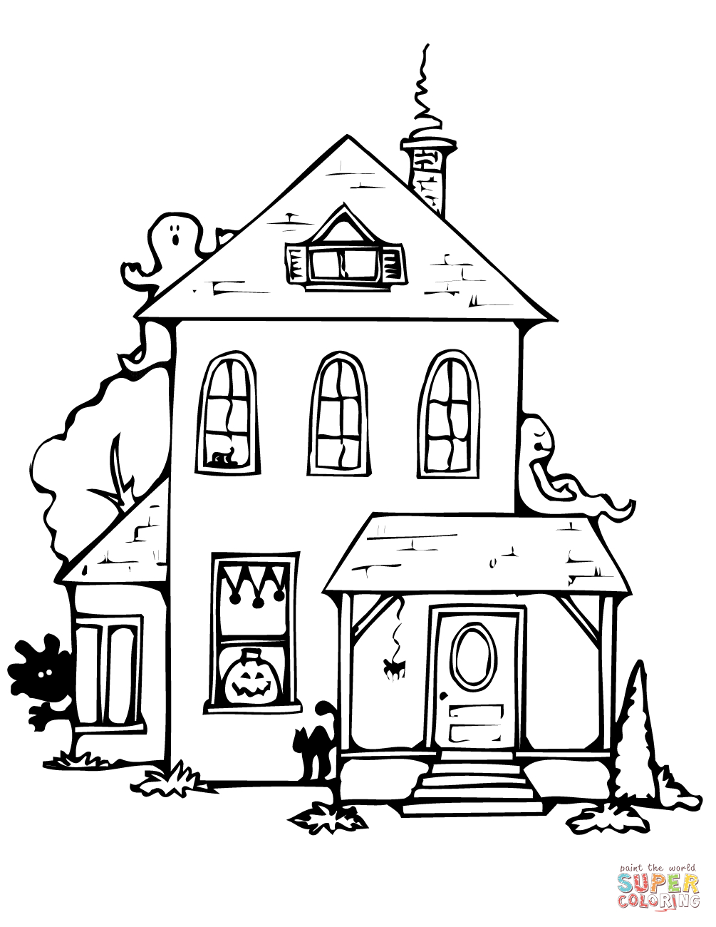 25+ Awesome Image of Haunted House Coloring Pages