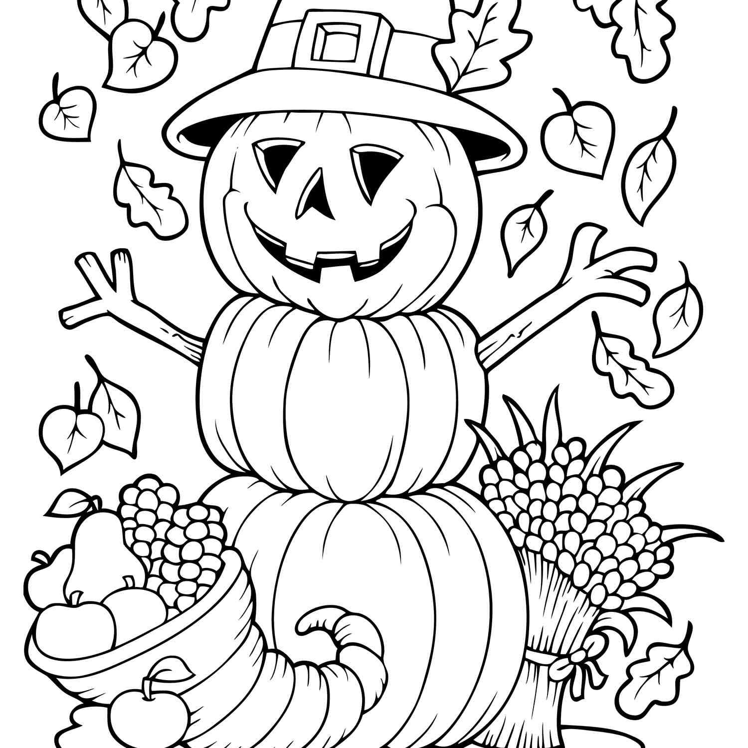 Images Of Coloring Pages Free Autumn And Fall Coloring Pages