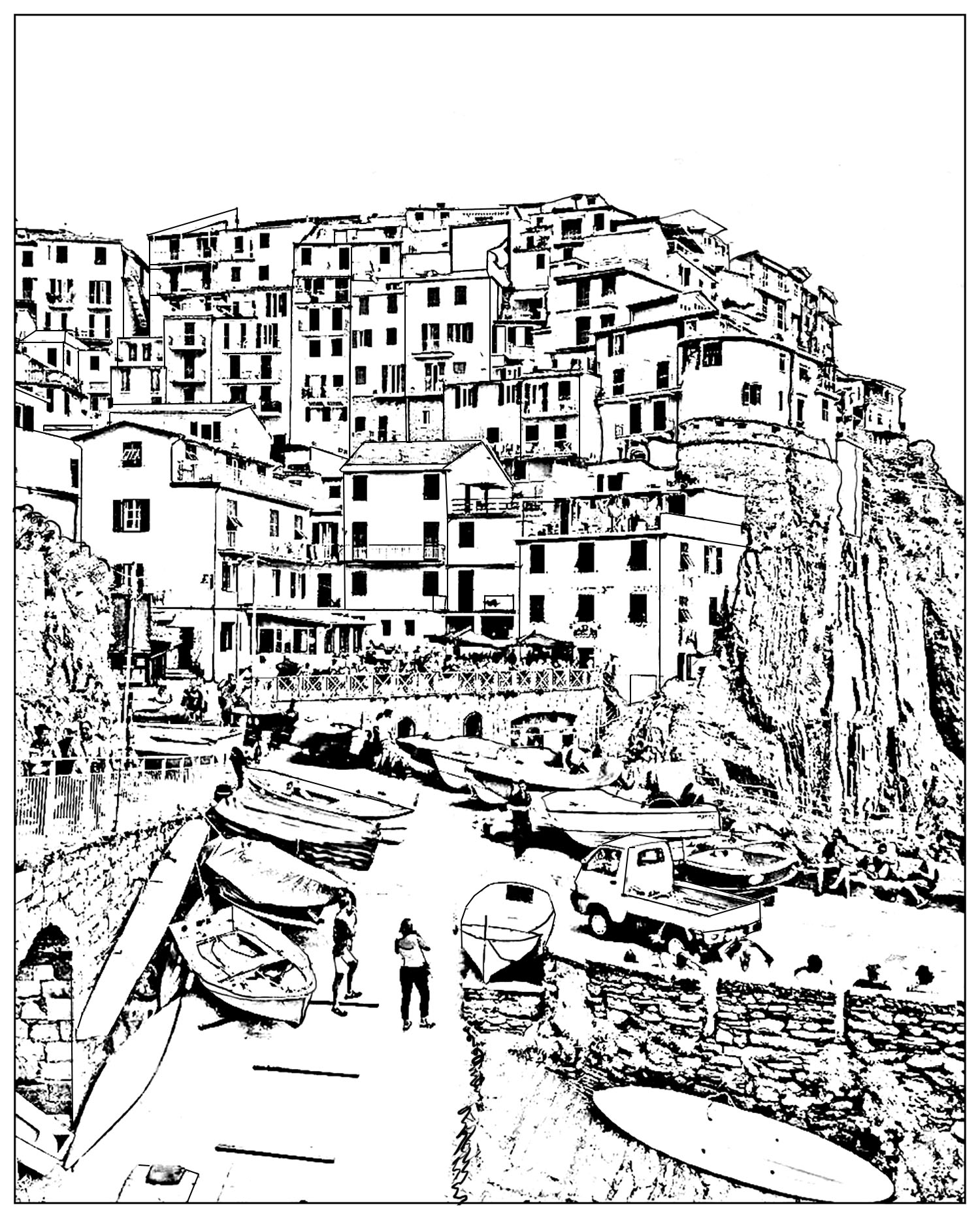 Italy Coloring Pages Italy Cinque Terre Lscapes Adult Coloring Pages