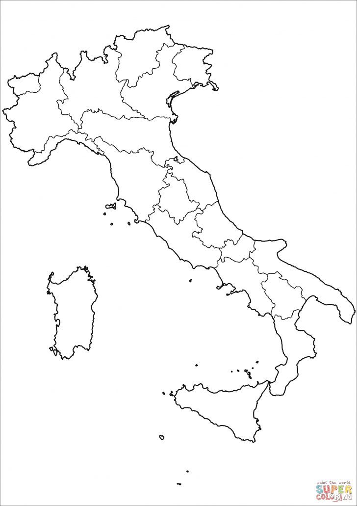 Italy Coloring Pages Outline Map Of Italy With Regions Coloring Page Free Printable