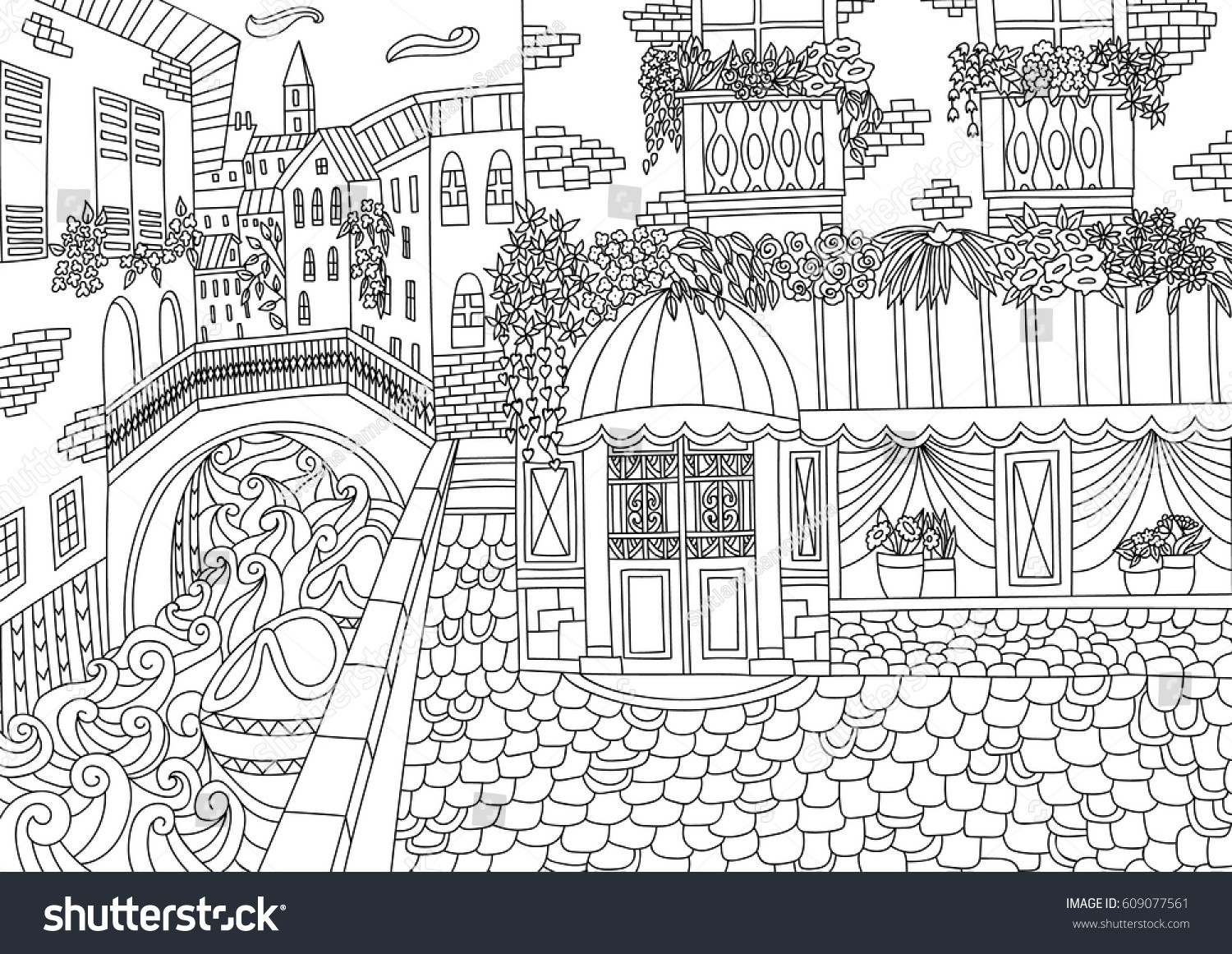 Italy Coloring Pages Stock Vector Coloring For Adult With Venice Italy Coloring Page In