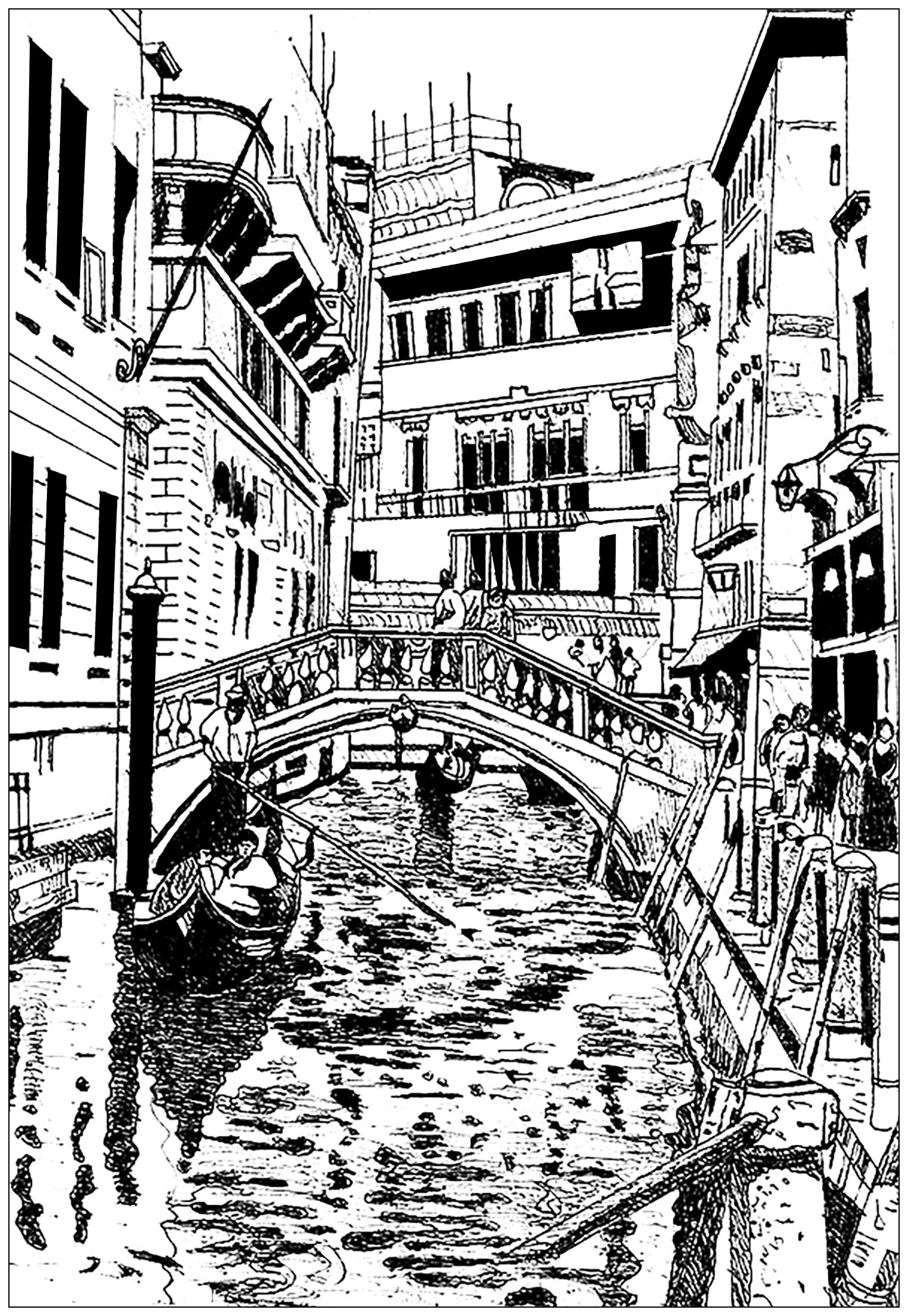 Italy Coloring Pages Venice Drawing Architecture Adult Coloring Pages