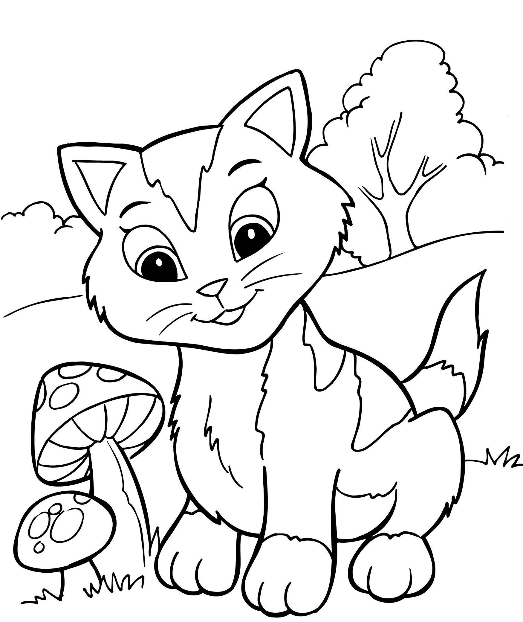 Pretty Image of Kittens Coloring Pages