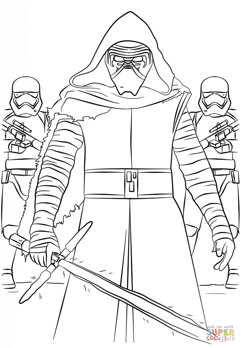 Kylo Ren Coloring Page Kylo Ren And The First Order Stormtroopers Coloring Page Free