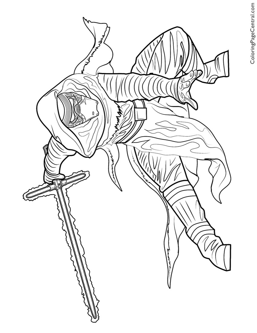 Kylo Ren Coloring Page Kylo Ren Star Wars Coloring Page Kpg Or Sheet W88131