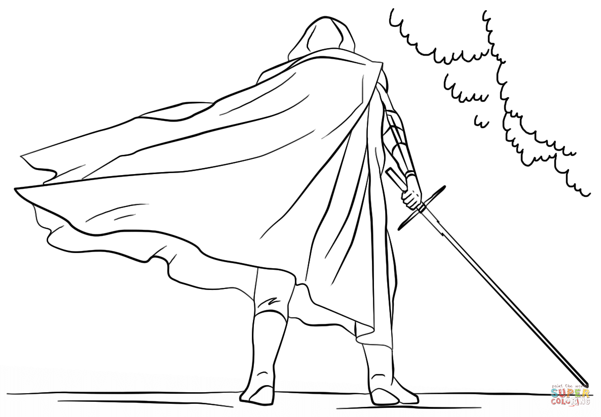 Kylo Ren Coloring Page Kylo Ren With Lightsaber Coloring Page Free Printable Coloring