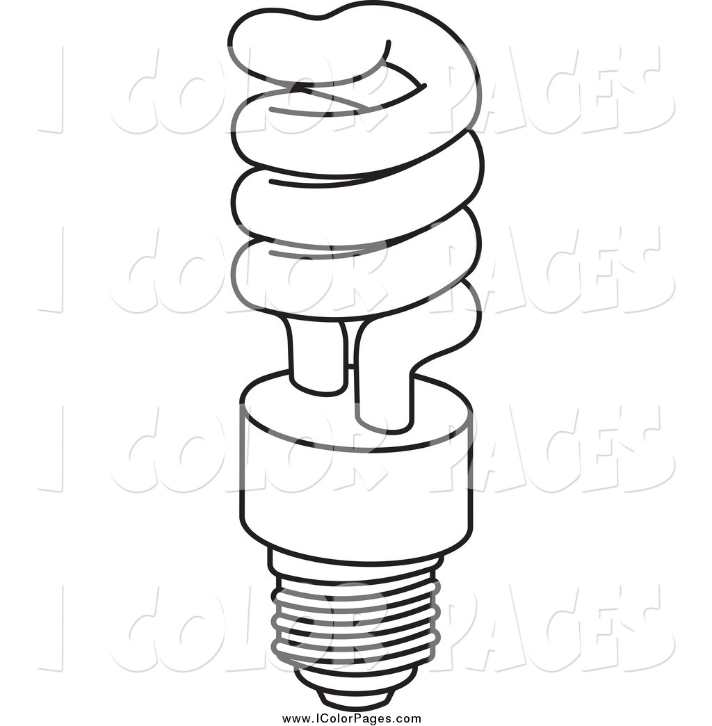 Light Bulb Coloring Page Vector Coloring Page Of A Black And White Fluorescent Spiral Light