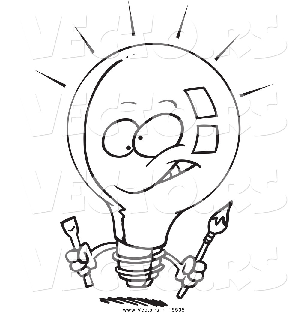 Light Bulb Coloring Page Vector Of A Cartoon Innovative Light Bulb Coloring Page Outline