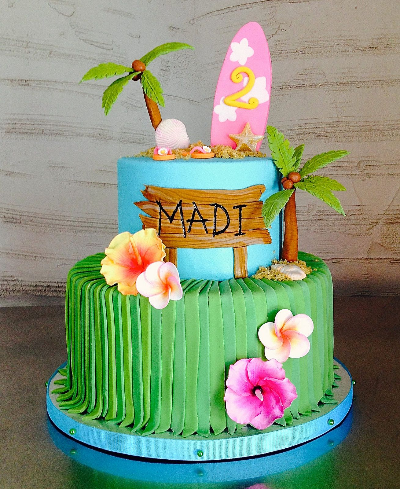 Luau Birthday Cakes Hawaiian Beach 2nd Birthday Cake In 2018 Cakes Pinterest