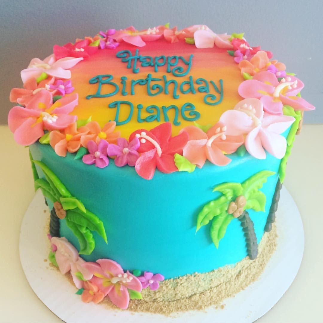 Luau Birthday Cakes Hawaiian Birthday Cake Desserts Pinte