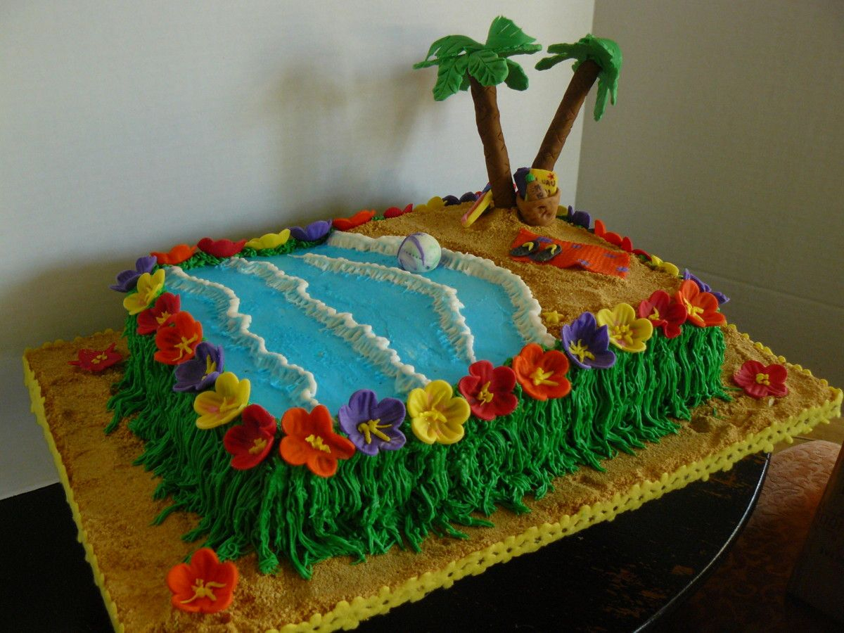 Luau Birthday Cakes Lulua Themed Birthday Sheet Cakes The Woodlands Cake Boutique