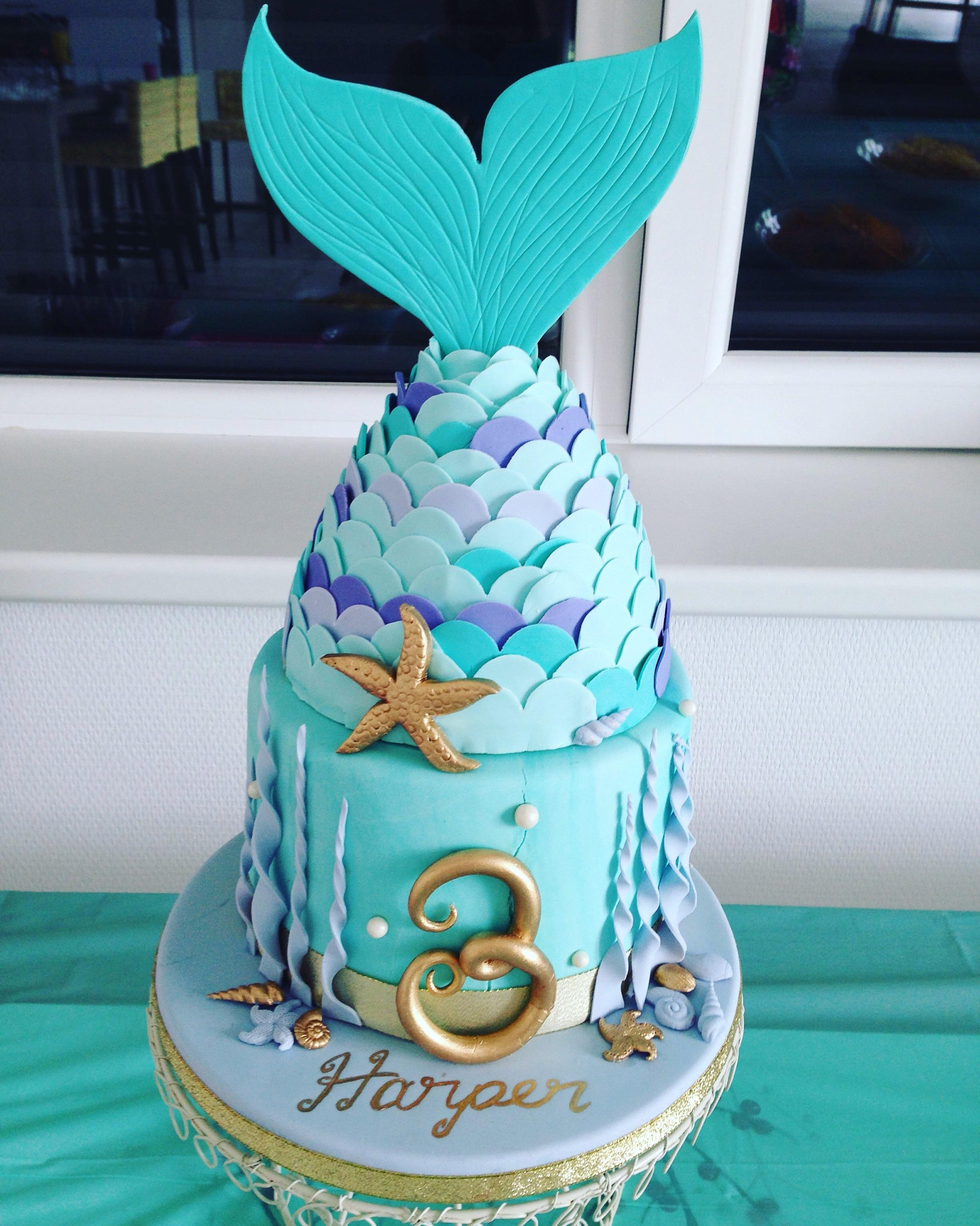Mermaid Birthday Cake Mermaid Birthday Cake I Made For My Daughters 3rd Birthday Yesterday
