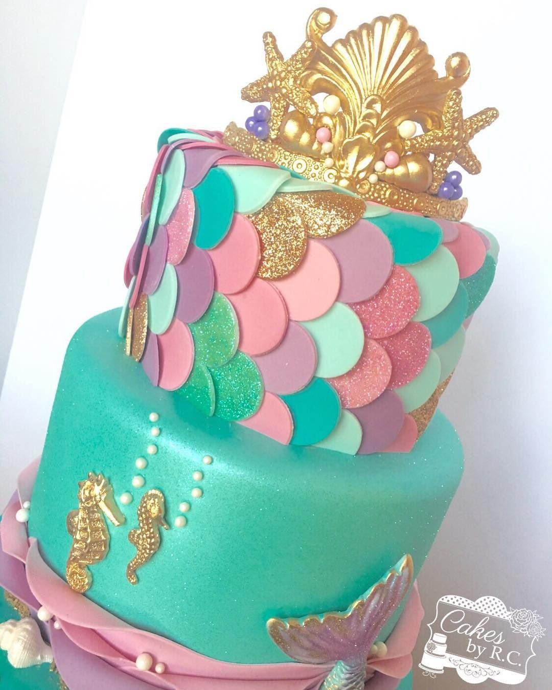 Mermaid Birthday Cake This Weekend Was All About Mermaids Fondant Tiara Gold Shimmer