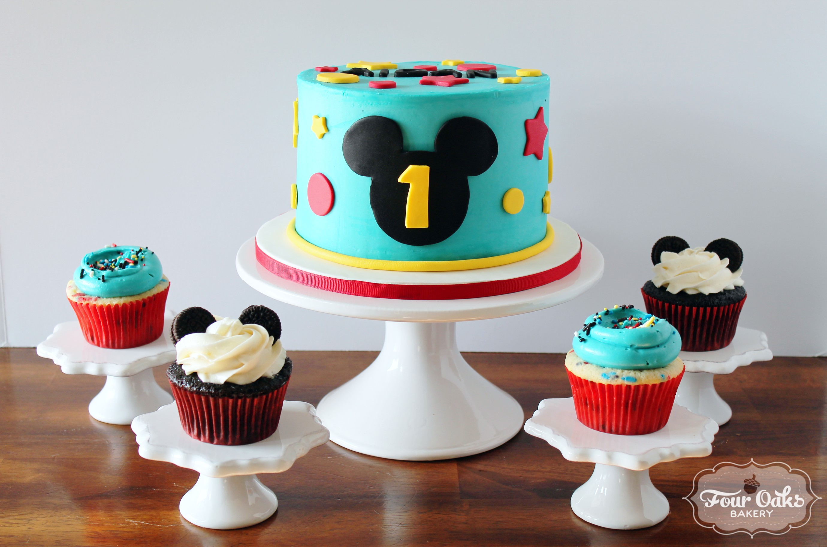 Mickey Mouse 1St Birthday Cake Mickey Mouse Themed First Birthday Smash Cake And Cupcakes Four
