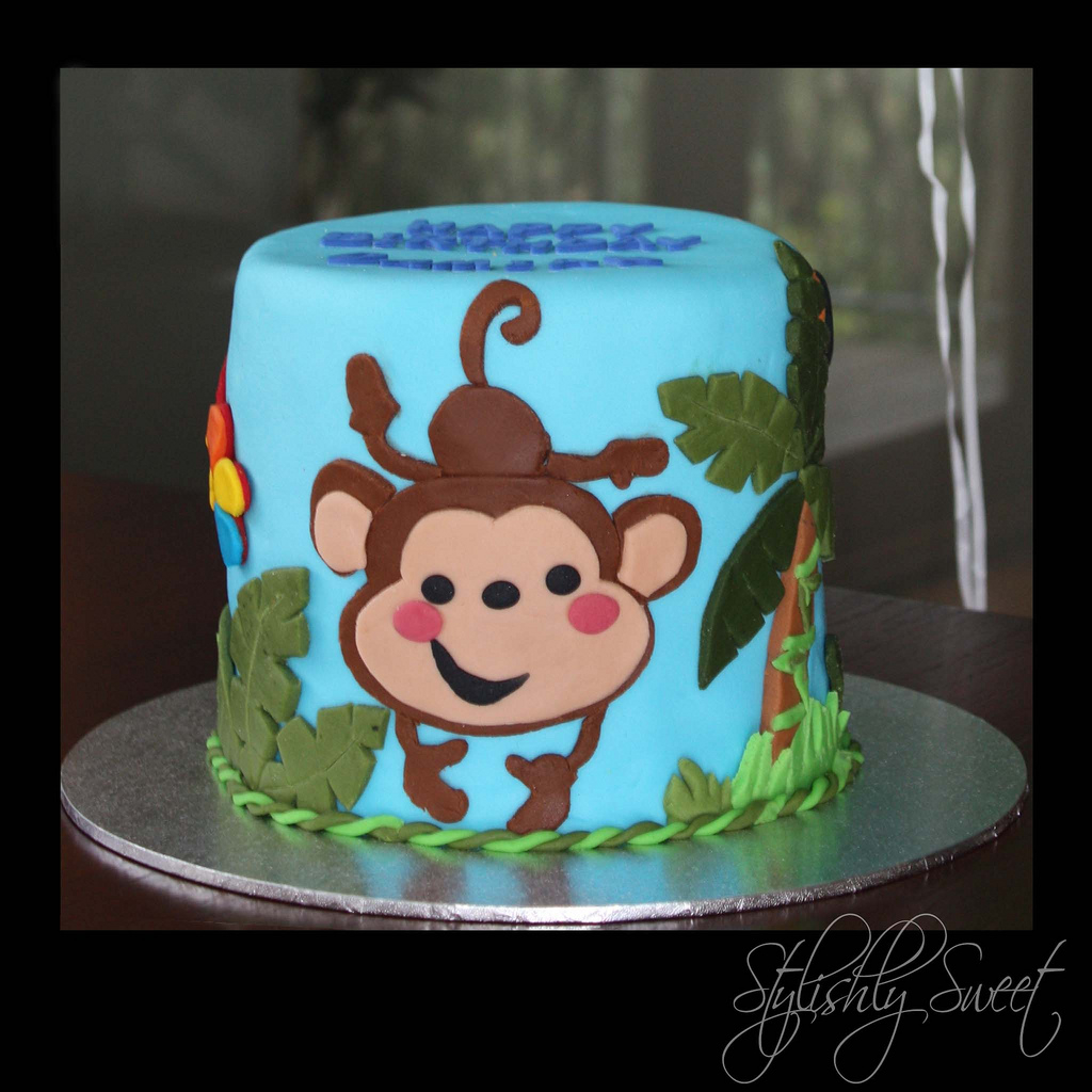 Monkey Birthday Cake Cheeky Monkey 1st Birthday Cake Jungle Ba Themed Birthda Flickr