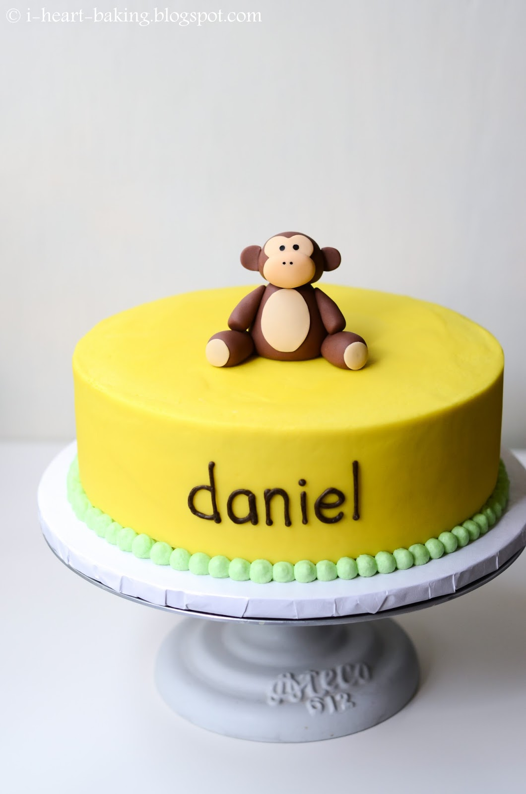 Monkey Birthday Cake I Heart Baking Banana Cream Birthday Cake With Handmade Fondant