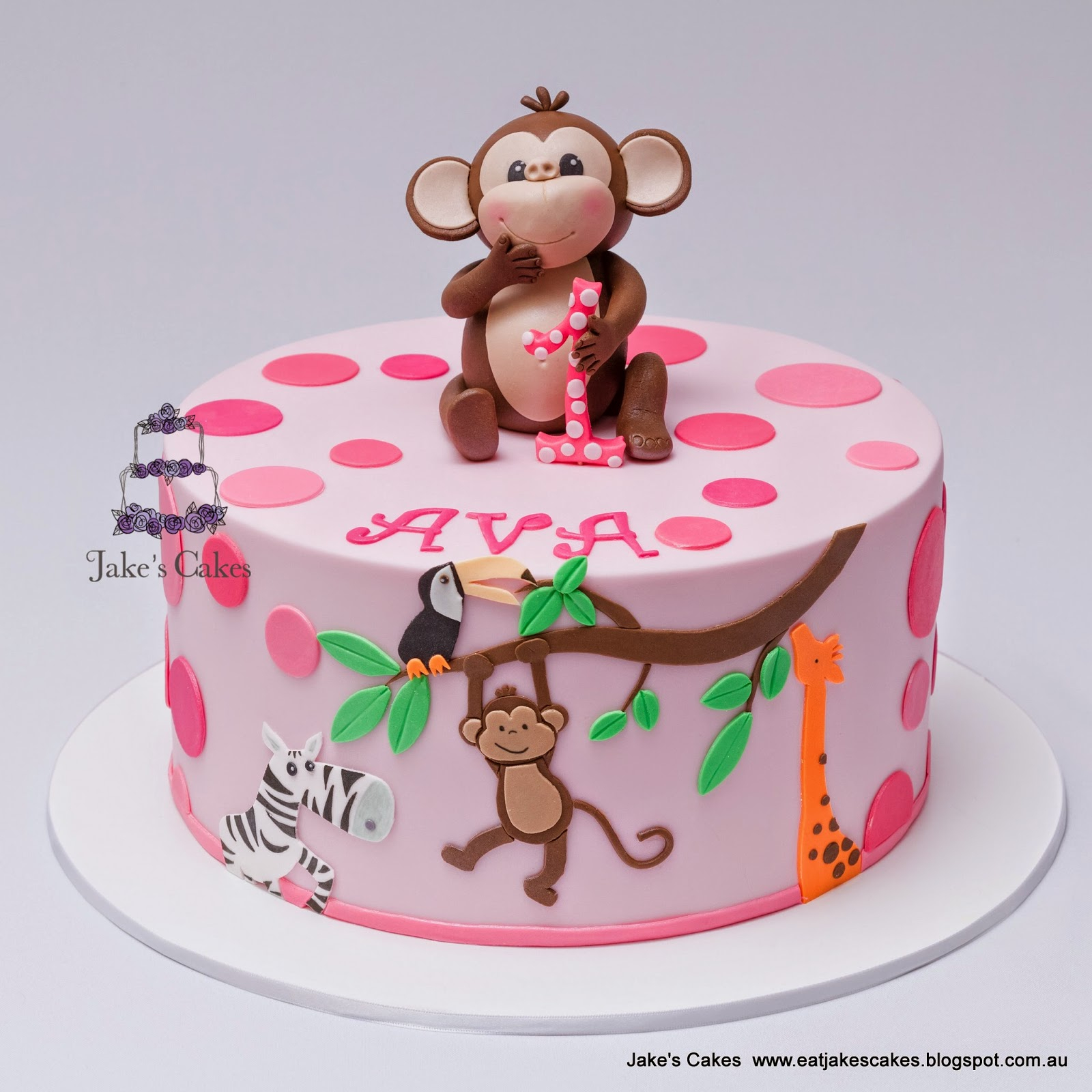 Monkey Birthday Cake Jakes Cakes Cheeky Monkey 1st Birthday Cake