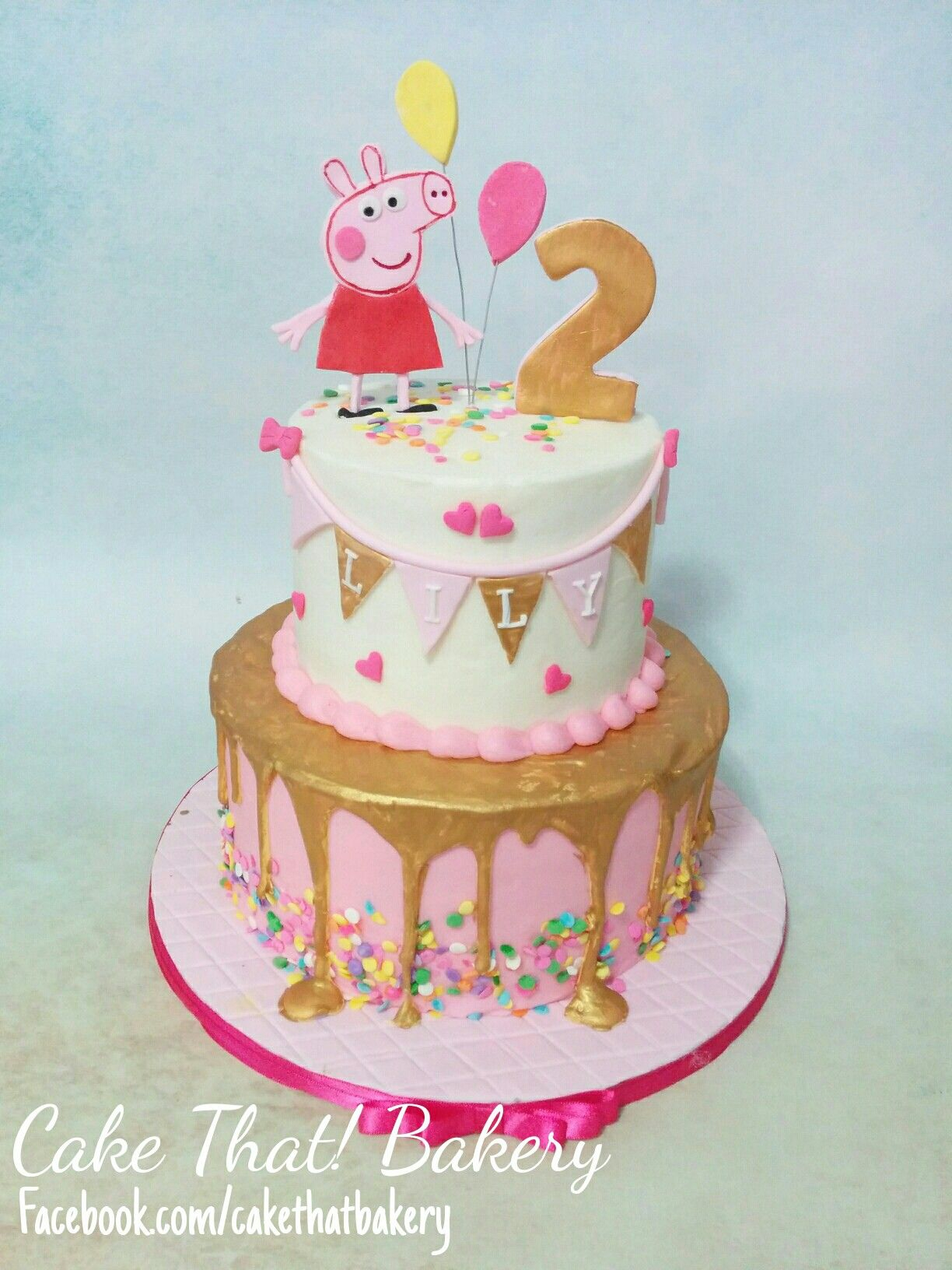 Peppa Pig Birthday Cake Pink And Gold Peppa Pig Birthday Cake Cakes And Goodies