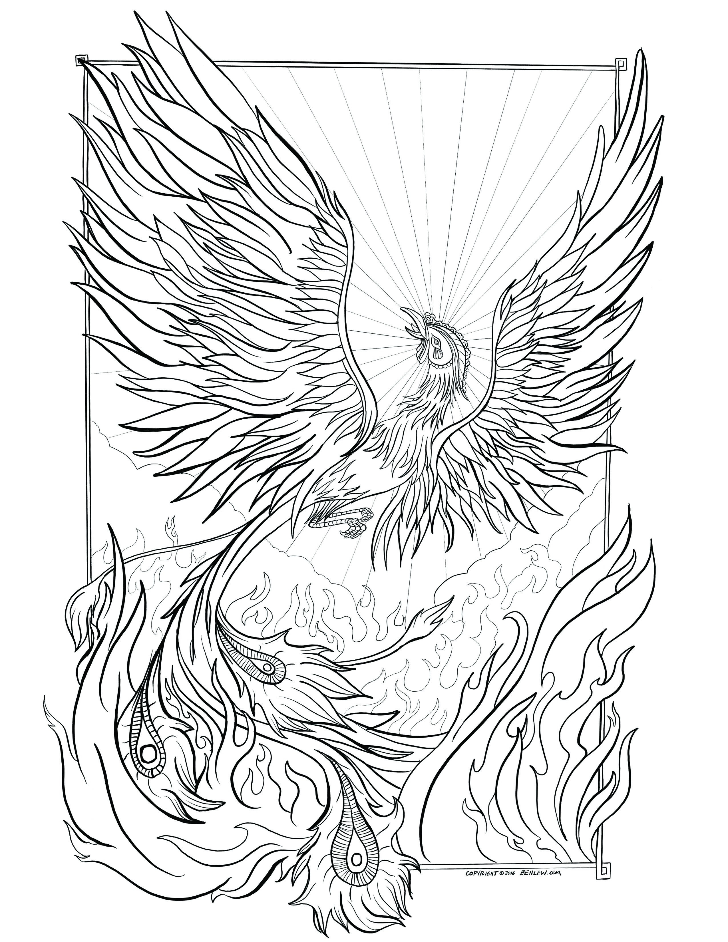 Wonderful Picture of Phoenix Coloring Page