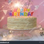 Pictures Of A Birthday Cake Happy Birthday Cake Sparklers Greeting Card Stockfoto Jetzt
