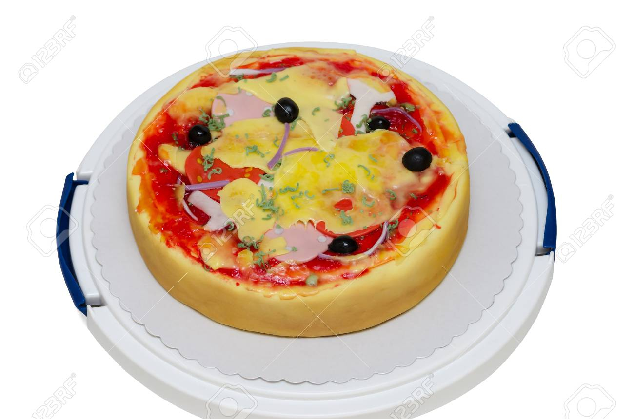 Pizza Birthday Cake Birthday Cake Pizza Isolated On White Background Stock Photo
