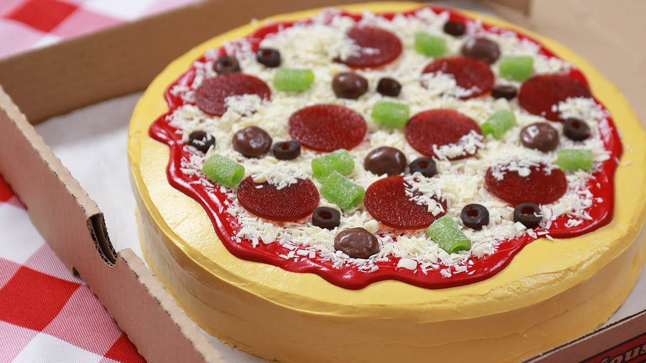Pizza Birthday Cake How To Make A Cake Pizza Nerdy Nummies Youtube