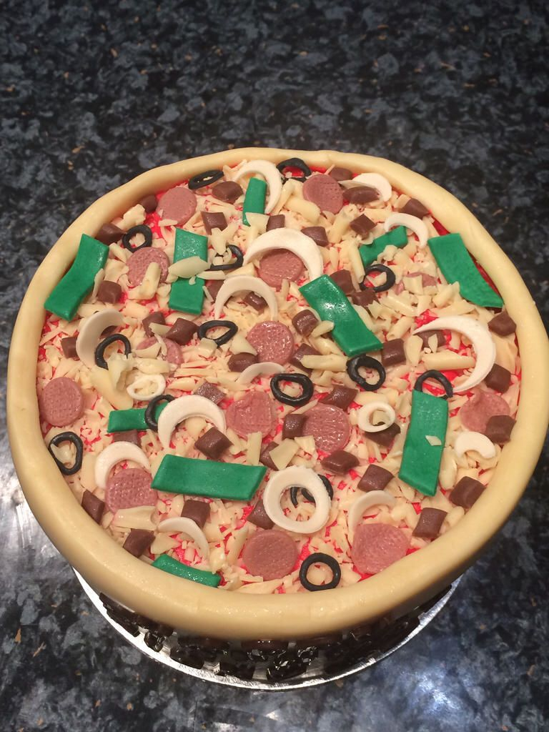 Pizza Birthday Cake Pizza Birthday Cake Sugarpaste Flowers Cakes Biscuits