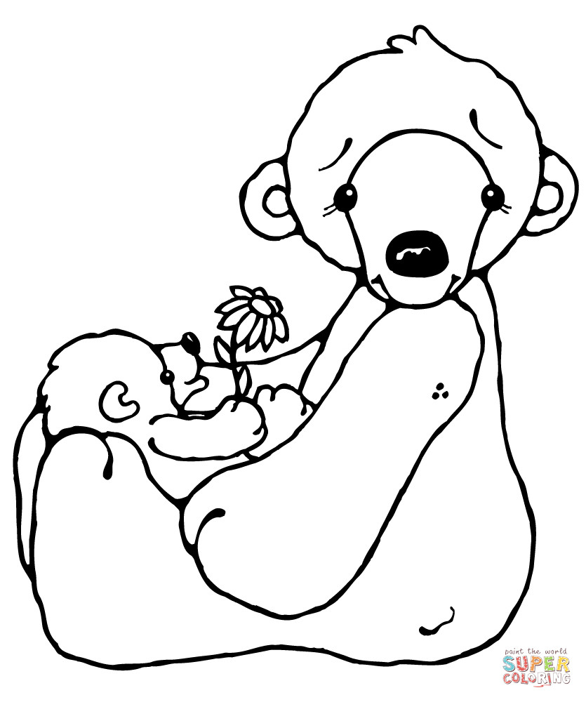 Polar Bear Coloring Pages Polar Bear And Ba Coloring Page Within Polar Bear Coloring Page