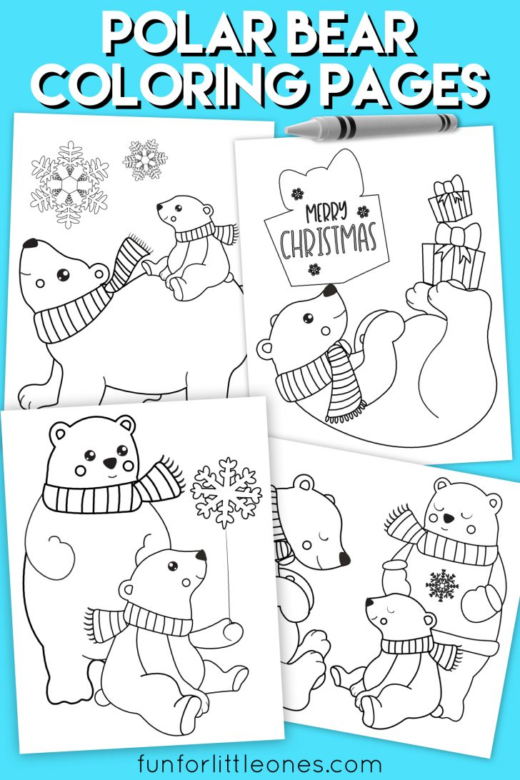Polar Bear Coloring Pages Polar Bear Holiday Coloring Pages For Kids Free Printable
