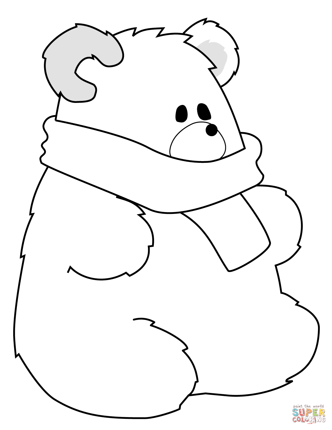 Polar Bear Coloring Pages Polar Bear With Scarf Coloring Page Free Printable Coloring Pages
