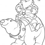 Polar Bear Coloring Pages Santa Claus Riding On Polar Bear Coloring Page Vector Image