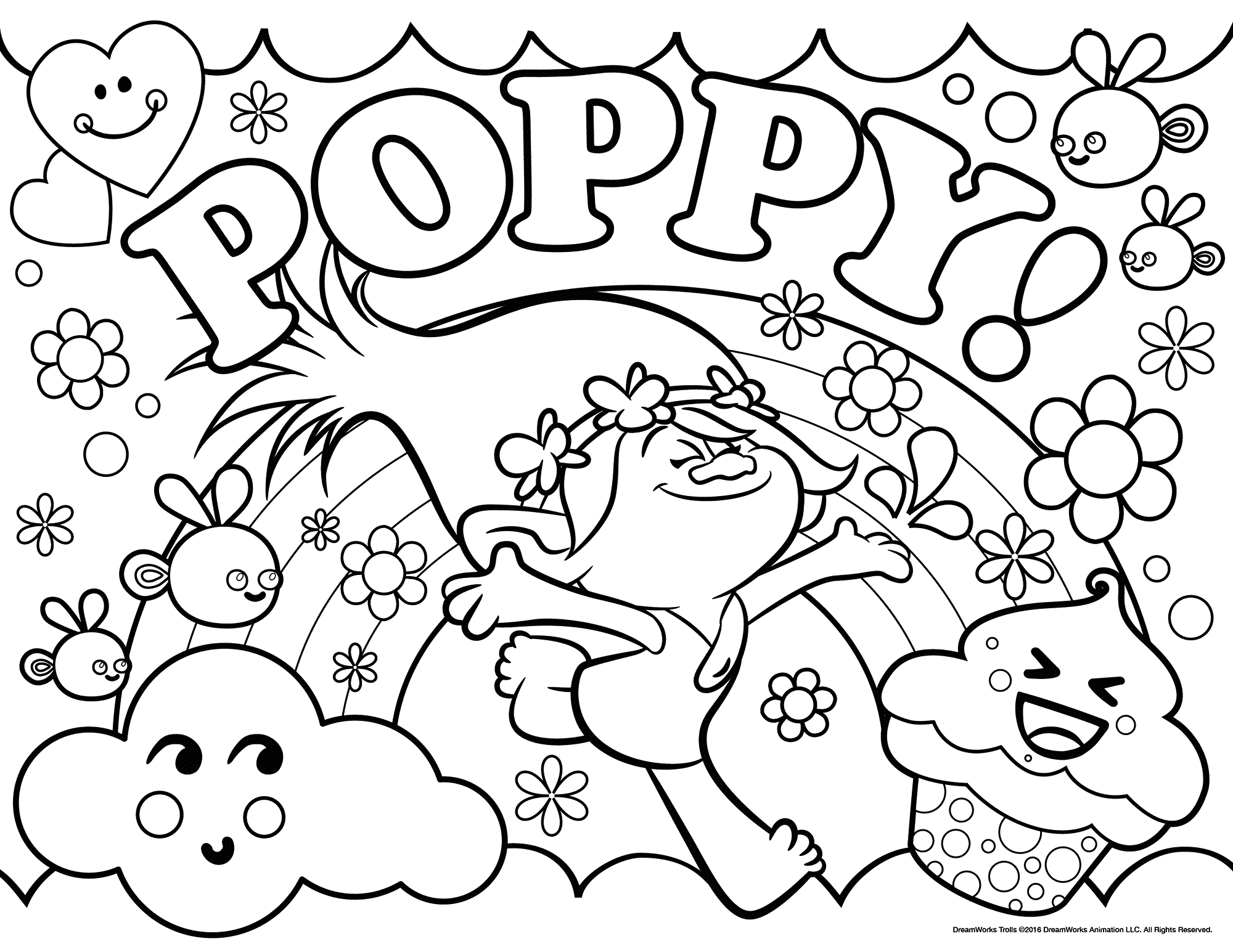 Poppy troll coloring page trolls movie coloring pages best coloring pages for kids