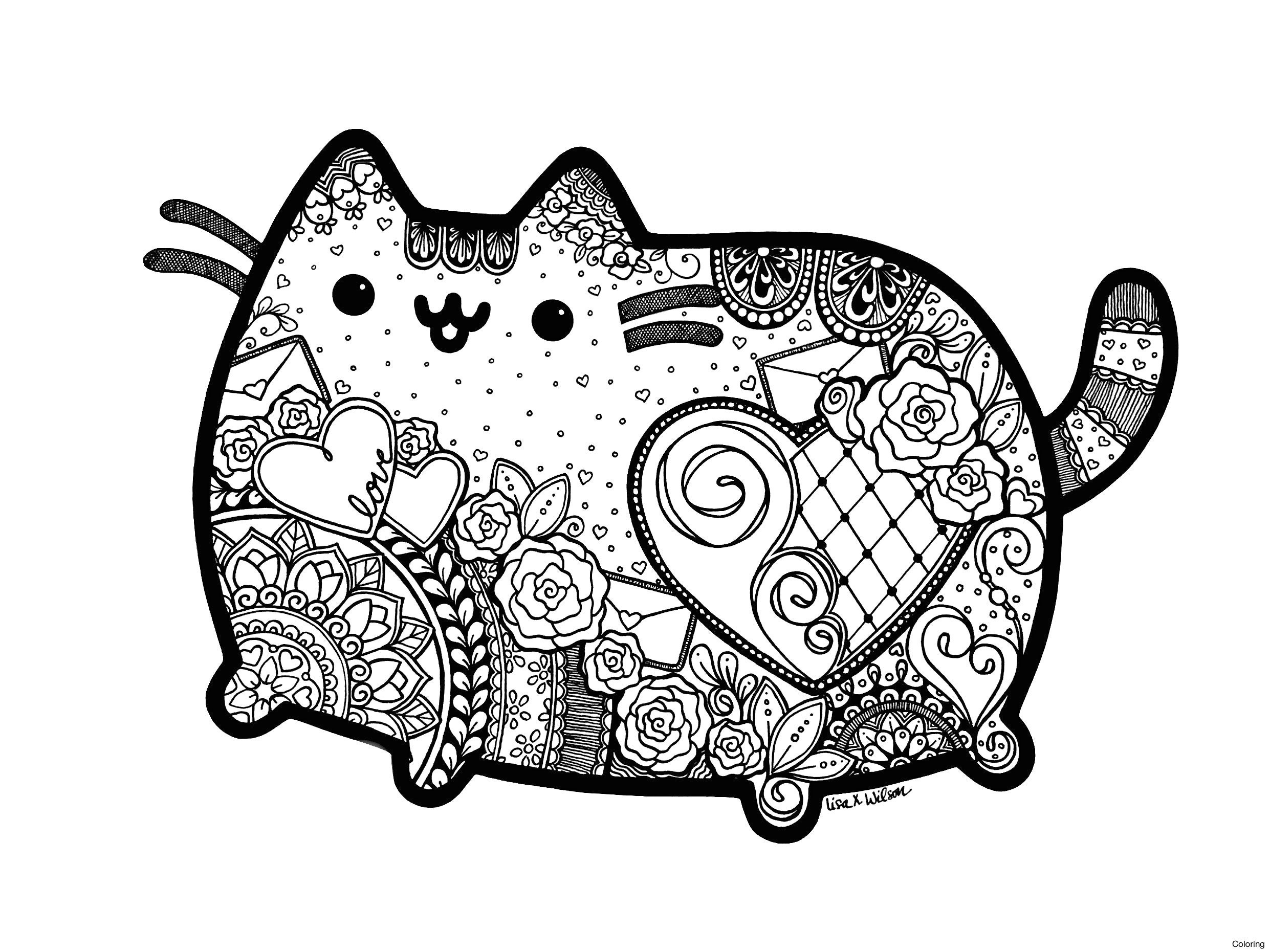Pusheen Cat Coloring Pages Mandala Coloring Fresh Mandala Coloring Pages Cat Copy Pusheen The