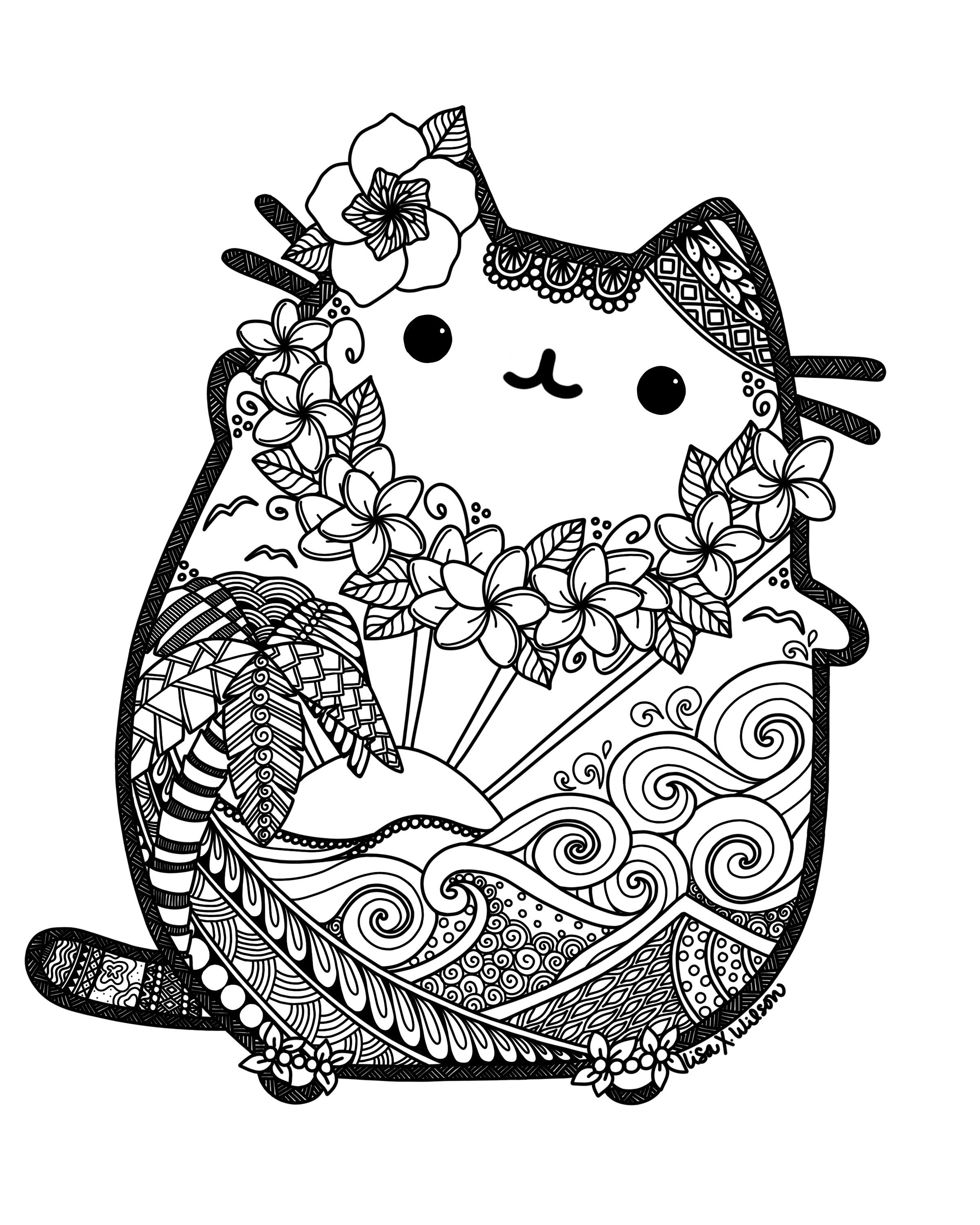 Pusheen Cat Coloring Pages Pusheen Cat Coloring Pages Mandala Free