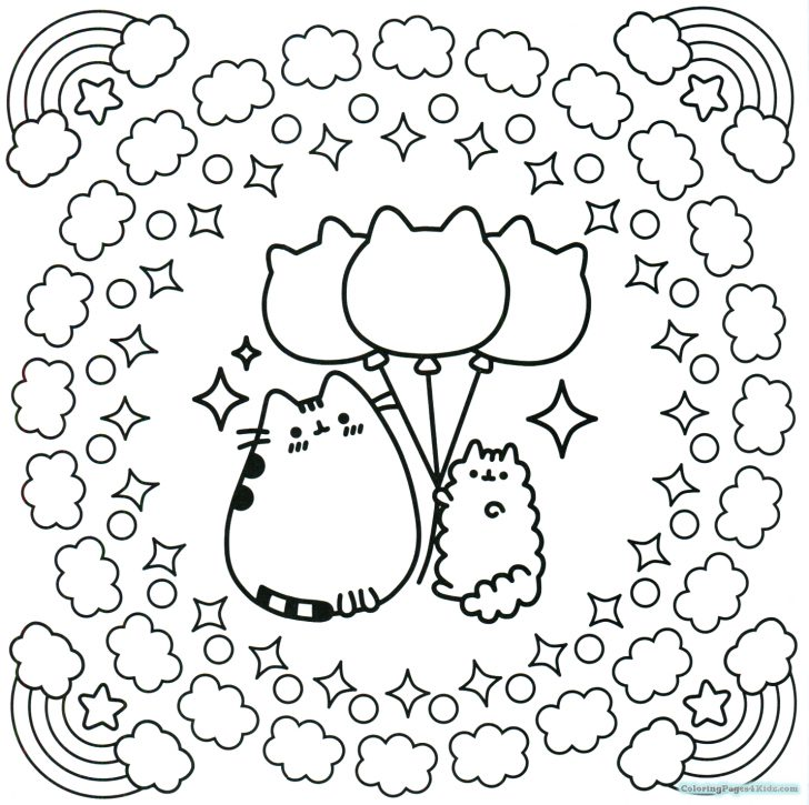 Pusheen Cat Coloring Pages Pusheen Cat Coloring Pages On A Hamburger For Kids 14301424