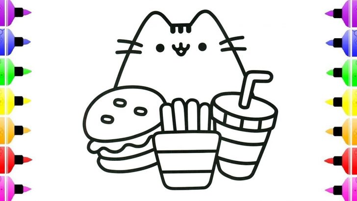 Pusheen Cat Coloring Pages Pusheen Cat Eating Coloring Pages For Kids Coloring Pages For