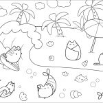 Pusheen Cat Coloring Pages Pusheen Sea And Sun Water Worlds Adult Coloring Pages