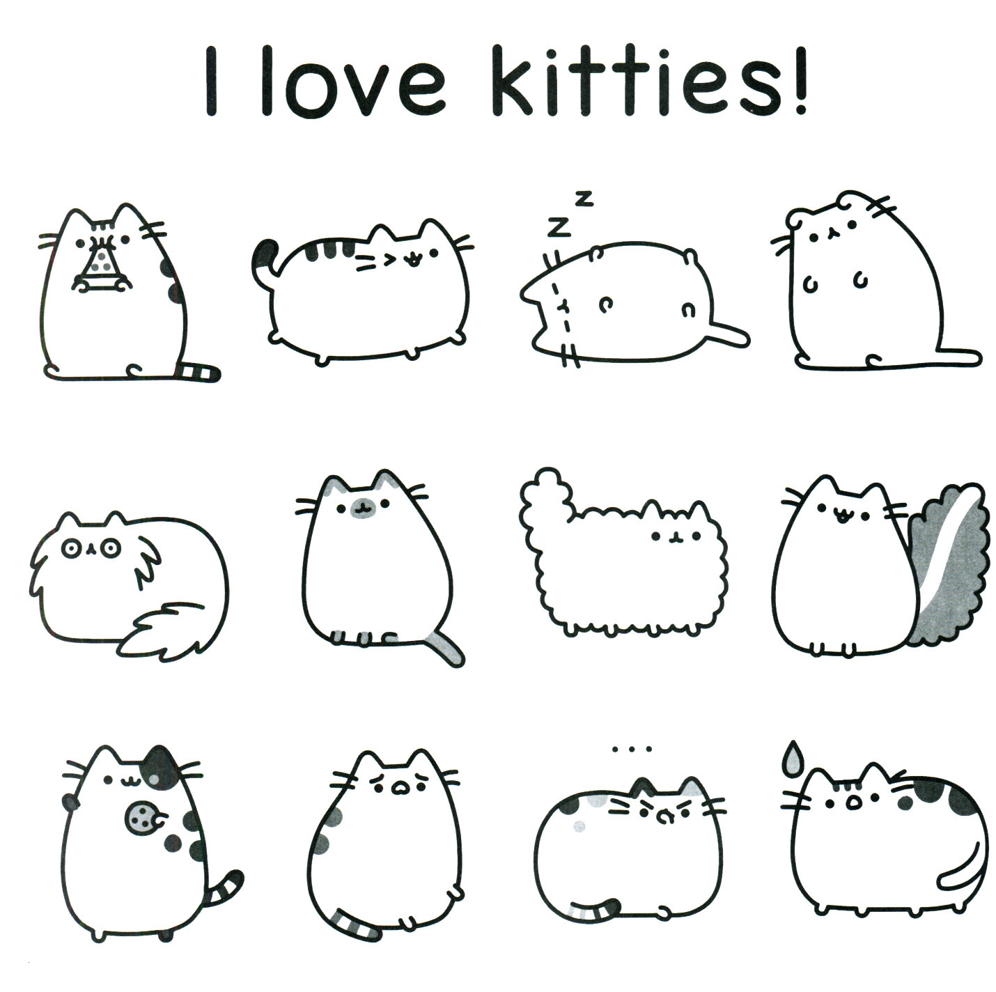 Pusheen Cat Coloring Pages Pusheen The Cat Coloring Pages Party Print Page 1 Ayushseminarmaha