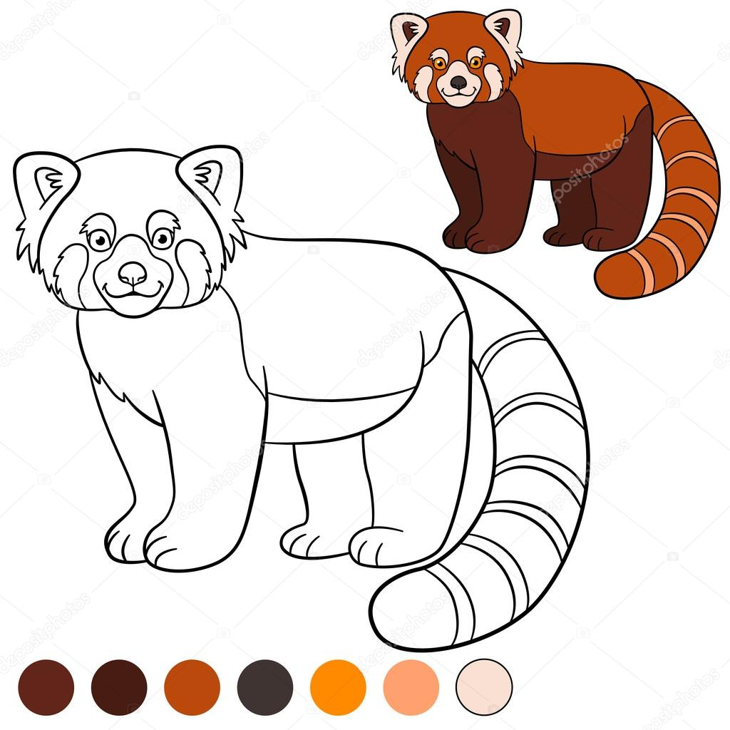 Red Panda Coloring Page Coloring Page Red Panda Little Cute Red Panda Smiles Stock