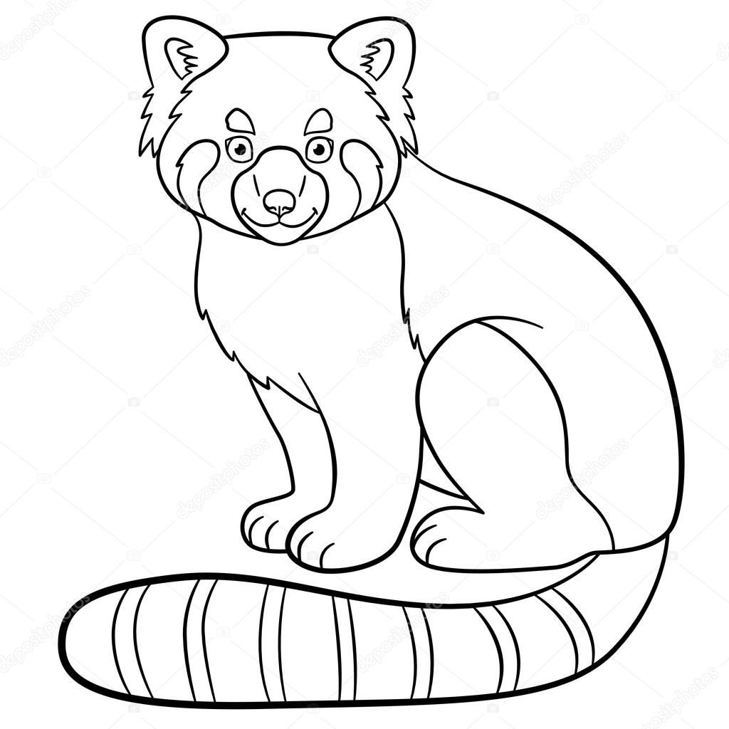 Red Panda Coloring Page Coloring Pages Little Cute Red Panda Smiles Stock Vector Ya