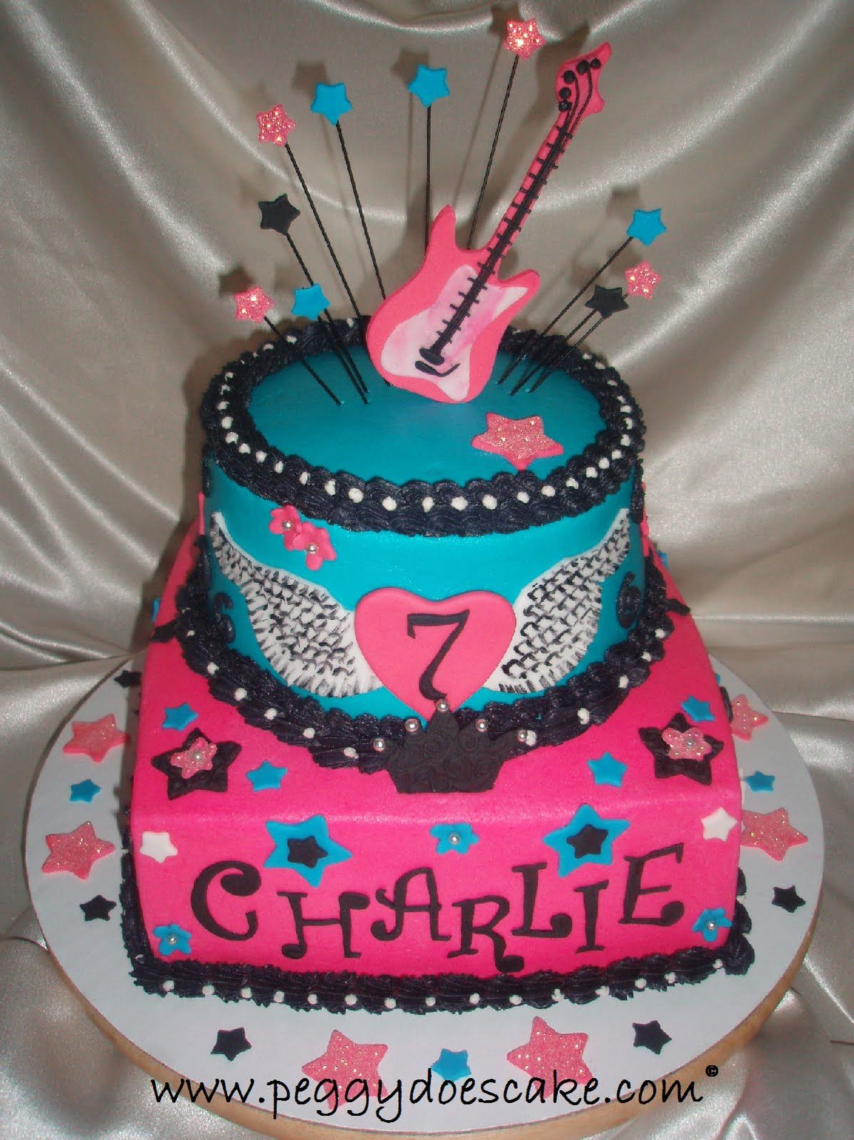 Rock Star Birthday Cake Peggy Does Cake Rocker Girl Birthday Cake Click Photos To