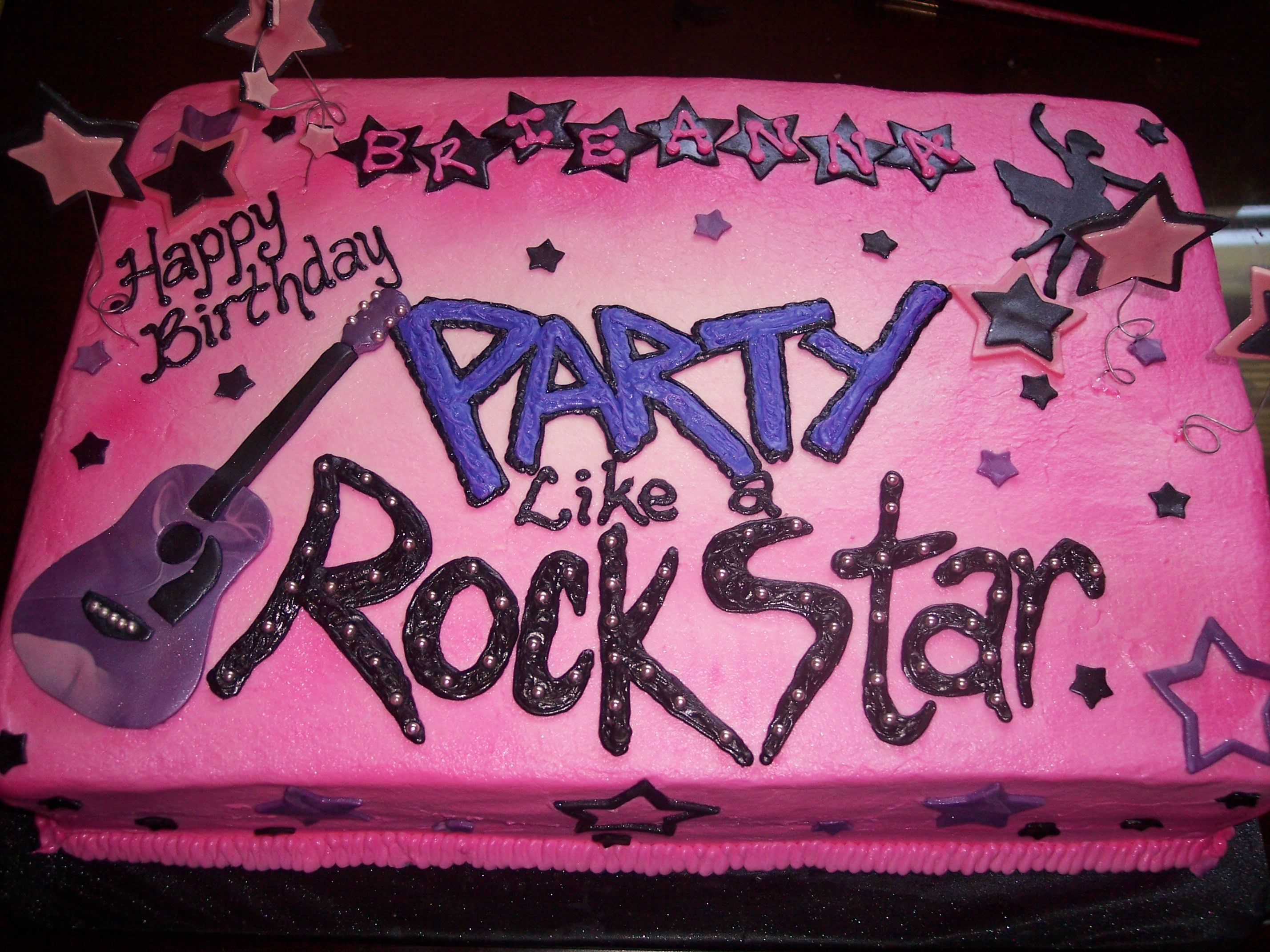 Rock Star Birthday Cake Purple Rock Star Birthday Cake Purple Icing Black And Pink Trim