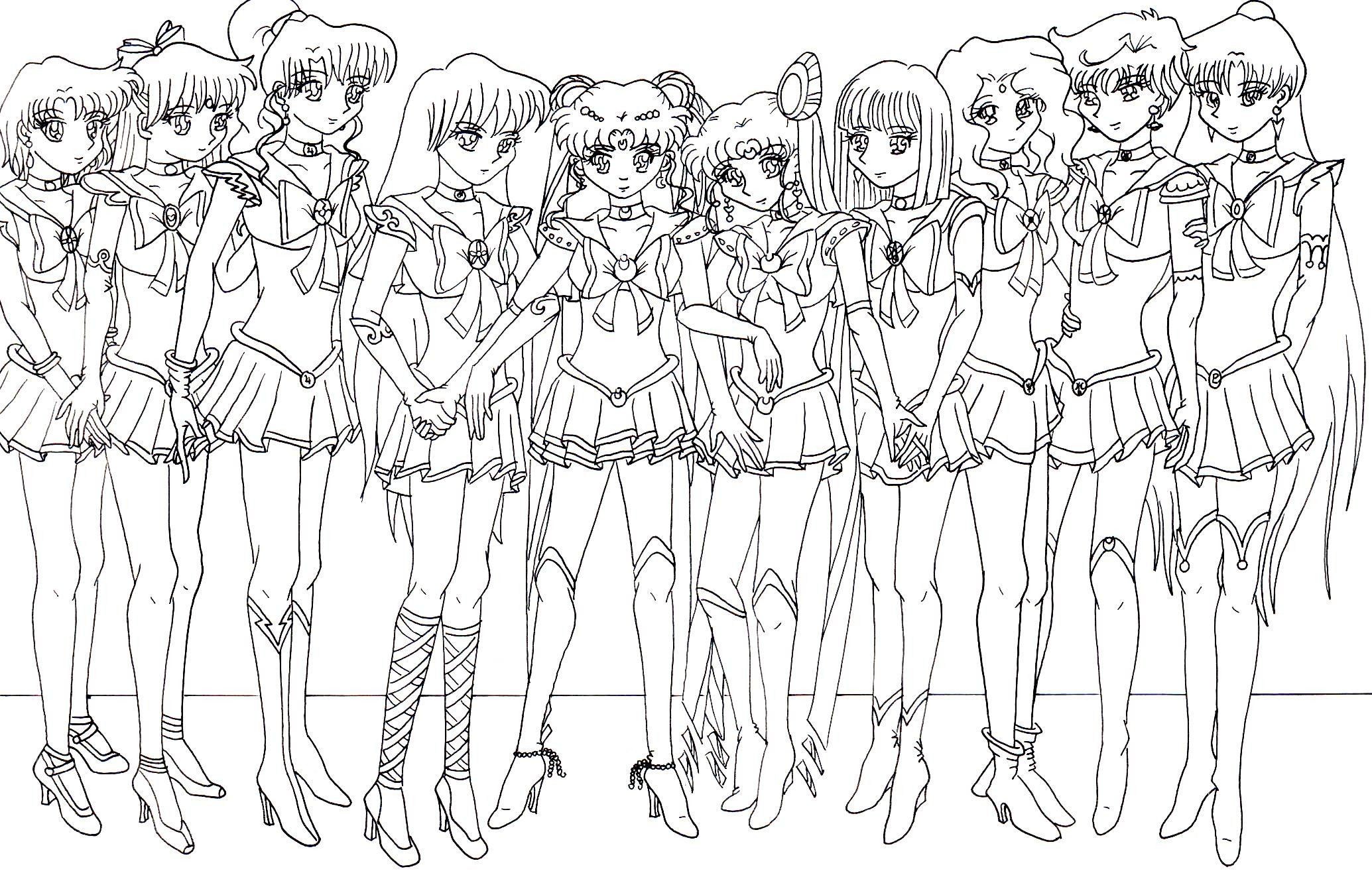 Sailor Moon Coloring Pages Sailor Moon Group Coloring Pages Color Bros