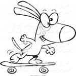 Skateboard Coloring Page Vector Of A Cartoon Dog Skateboarding Coloring Page Outline