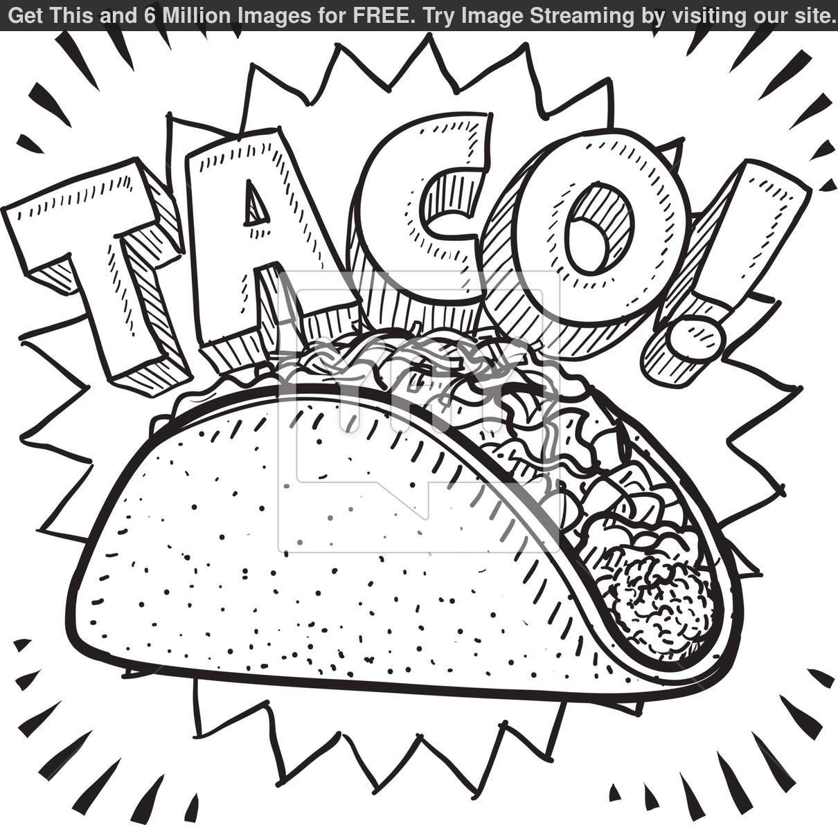Taco Coloring Page Princess Color Pages To Print Taco Coloring Page Taco To Draw