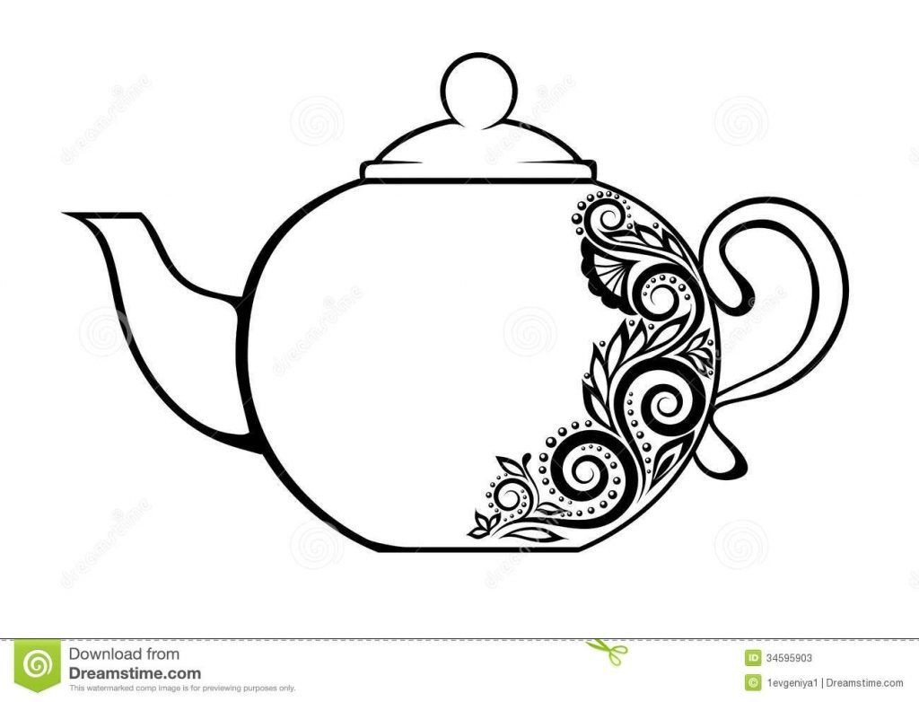 Teapot Coloring Page Elegant Teapot Coloring Page 001cp