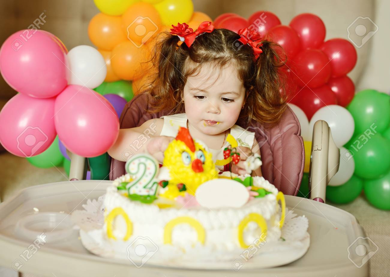 Toddler Girl Birthday Cakes Cute Toddler Girl With Her Birthday Cake Stock Photo Picture And