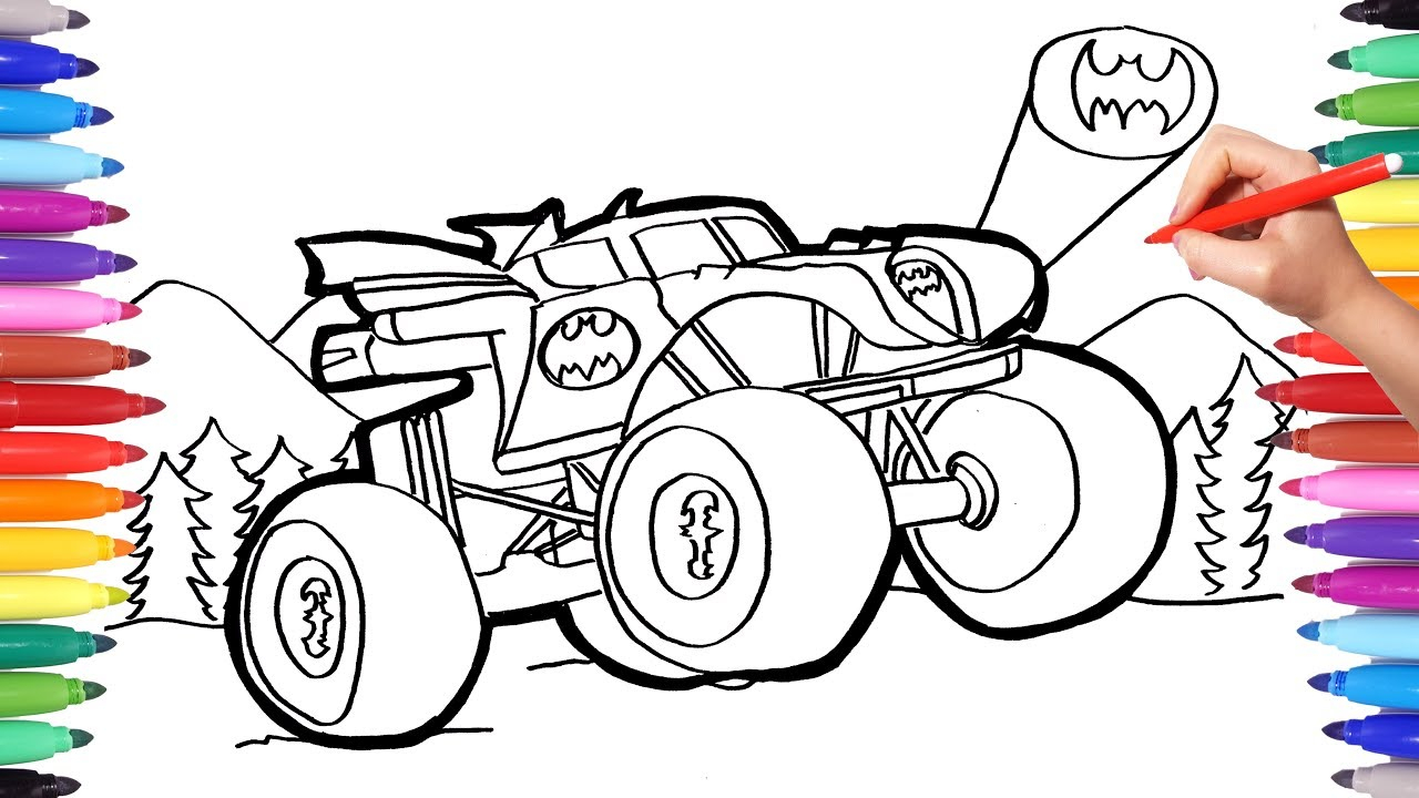 Truck Coloring Pages Batman Monster Truck Coloring Pages Watch How To Draw Batman