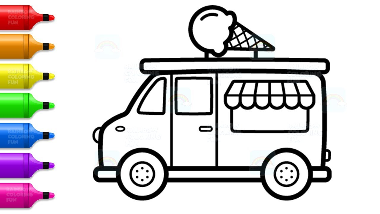 Truck Coloring Pages How To Draw Ice Cream Truck For Kids Learn Colors With Truck